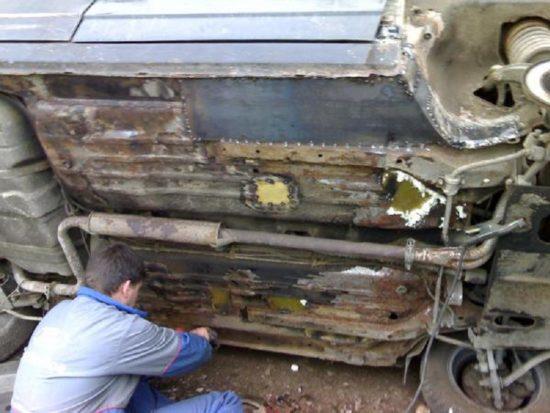 Ремонт порогов и днища кузова своими руками 33