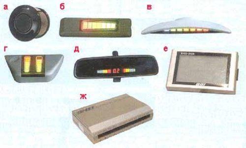 Главные компоненты парктроника: врезной датчик (а), одношкальные индикаторы расстояния (б и в), двухшкальный индикатор расстояния (г), индикатор с цифровым указанием расстояния и двумя шкалами (д), жидкокристаллический дисплей (е), электронный бок управления (д)