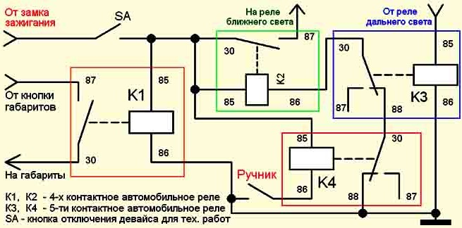 Схема автоматического включения света 217